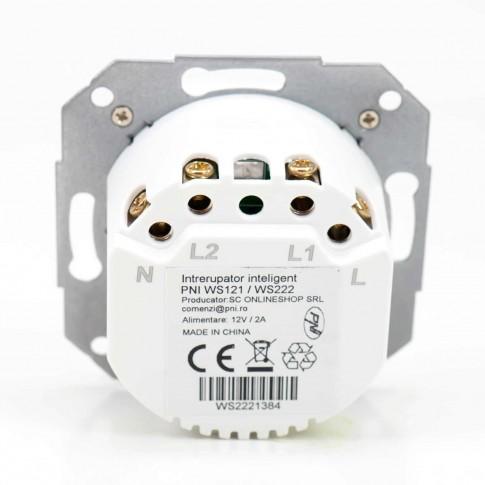 Intrerupator dublu inteligent Smarthome WS222, wi-fi, control distanta si comenzi vocale, programabil, alb