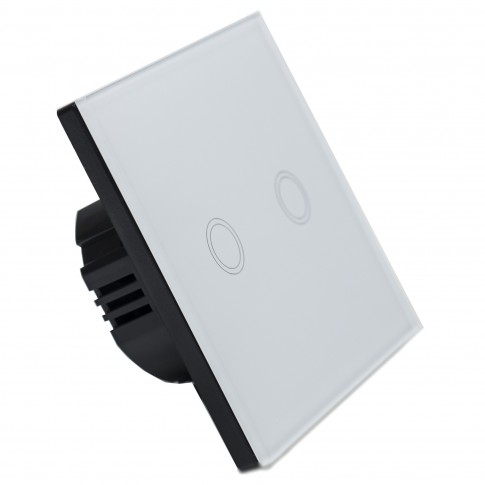 Intrerupator touch dublu cu indicator luminos, PNI SH202, incastrat, alb