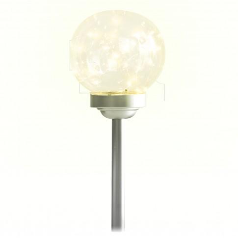 Lampa solara 20 microLED-uri alb cald Hoff, glob, H 46 cm