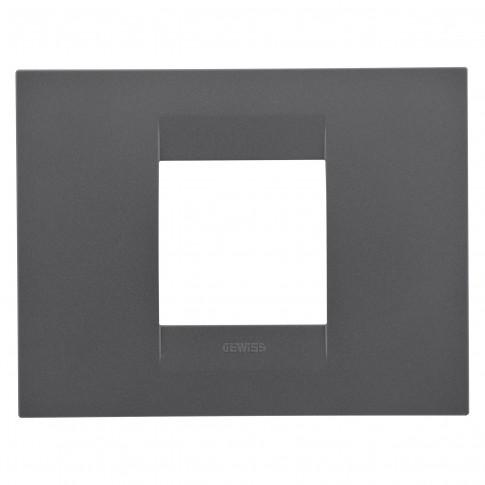 Rama Gewiss Chorus Geo GW16402VN, 2 module, negru - satin, pentru priza / intrerupator