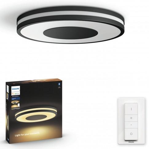 Plafoniera LED Philips Hue Being 3261030P7, 27W, 2400lm, lumina calda / rece, dimabila, neagra + dimmer