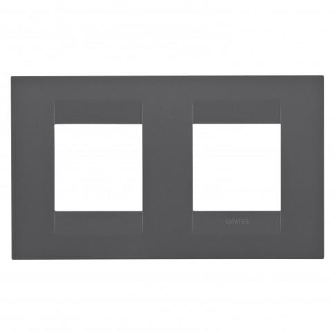 Rama Gewiss Chorus Geo GW16423VN, 2 + 2 module, negru - satin, pentru priza / intrerupator