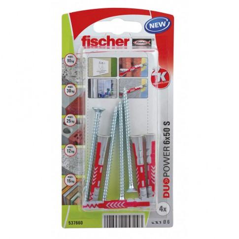 Diblu universal, din nylon, 6 x 50 mm, Fischer Duopower, cu surub, 4.5 x 60 mm, cu cap inecat, PZ2, set 4 bucati