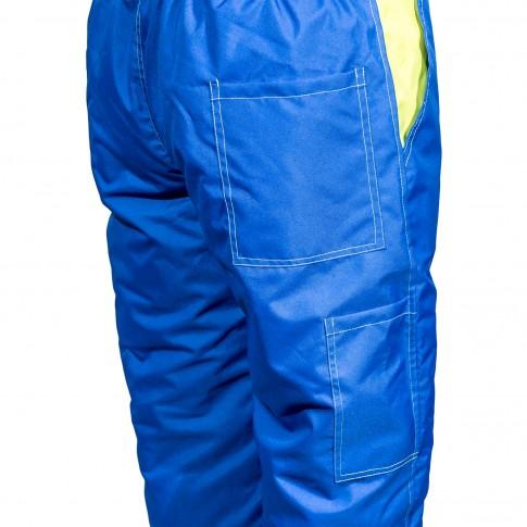 Pantaloni salopeta pentru protectie Kora vatuit, fas impermeabil, albastru, marimea L