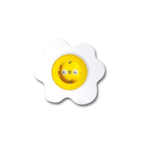 Priza simpla Metalka-Majur Happy 1651052, incastrata, rama inclusa, contact de protectie, galbena cu alb, ou