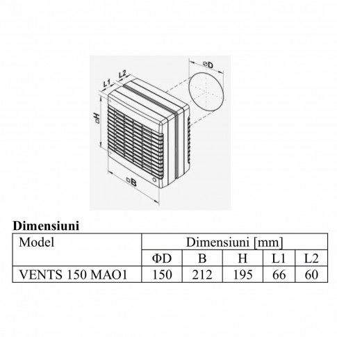 Ventilator axial fereastra Vents 150 MAO1, D 150 mm, 26 W, 2400 RPM, 295 mc/h