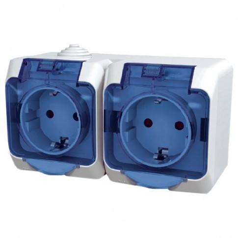 Priza dubla Schneider Electric Cedar Plus WDE000525, aparenta, cu capac, contact de protectie, alba