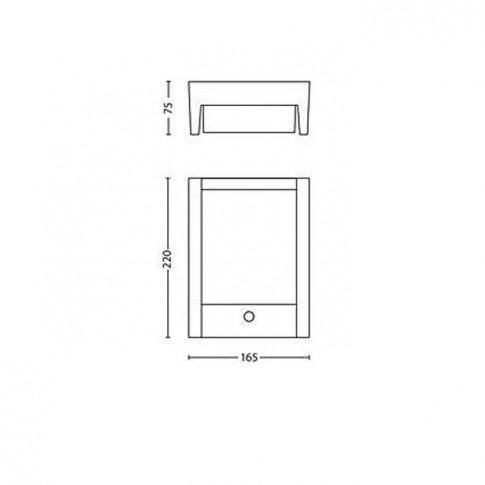 Aplica exterior cu LED Arbour 164619316, 6W, cu senzor