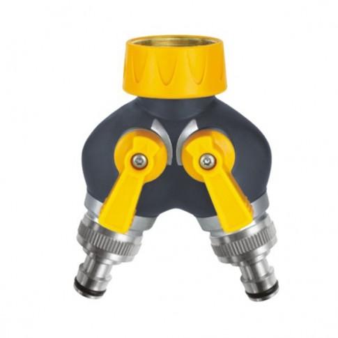 Adaptor robinet - furtun pentru irigatii gradina, 2 iesiri, filet interior, polipropilena + metal, Deluxe DY8102A