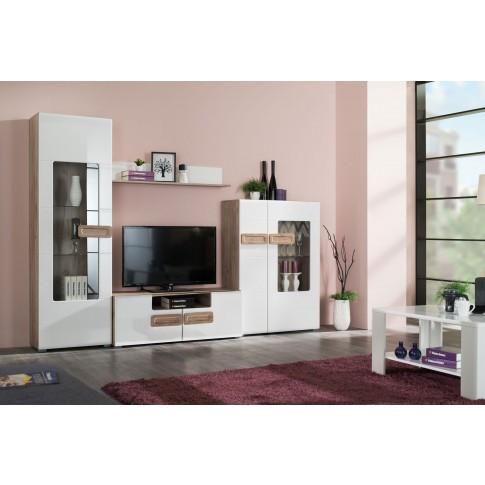 Comoda TV Bert 120, stejar gri + alb lucios, 120 x 41.5 x 43.5 cm, 1C