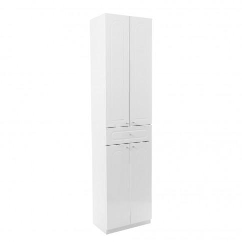 Dulap baie pe sol, 4 usi, cu sertar, Martplast, alb, deschidere pe stanga / dreapta, 190 x 48 cm