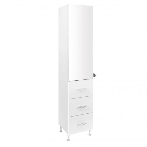 Dulap baie pe sol, 1 usa, cu oglinda si sertare, alb, deschidere stanga / dreapta, 180 x 35 cm