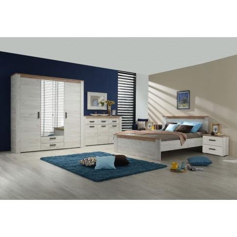 Comoda dormitor Kent 3K3F, cu 3 sertare, stejar alb + stejar gri, 160 x 98 x 36.5 cm, 2C