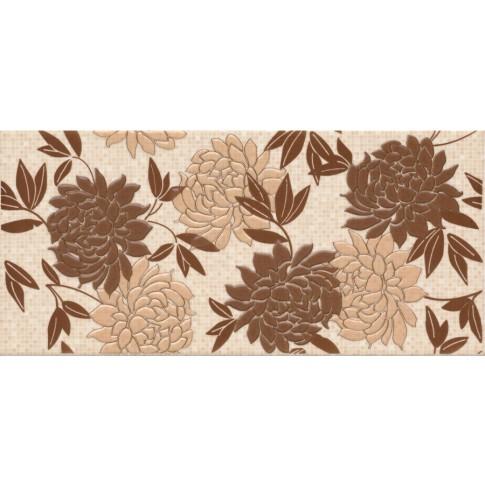 Decor faianta baie / bucatarie Quatro flowers lucios bej 20 x 42.5 cm