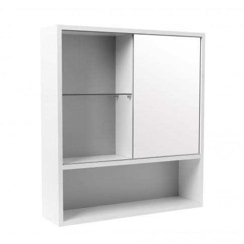 Dulap baie cu oglina si polita, 1 usa, dreapta, Practic, alb, 63 x 17 x 70 cm