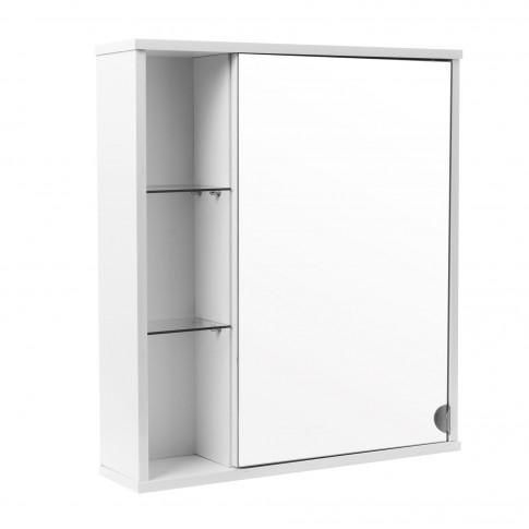 Dulap baie cu oglinda si polite, Siro, 1 usa, stanga, alb, 60 x 15 x 68 cm