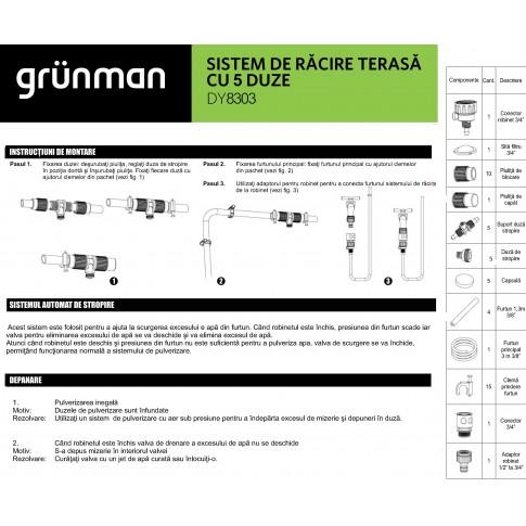 Sistem racire terasa  Grunman DY8303, PVC, 3 m, 5 duze de pulverizare