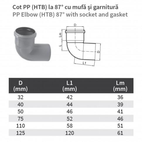 Cot PP HTB, pentru scurgere, D 50 mm, 87  grade