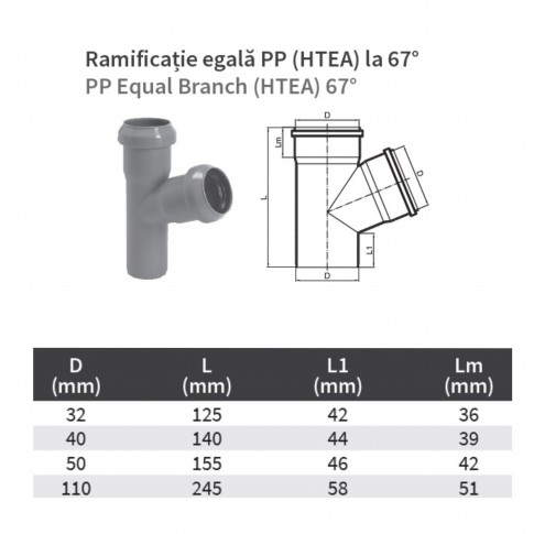 Ramificatie PP HTEA, pentru scurgere, D 50 x 50 mm, 67 grade