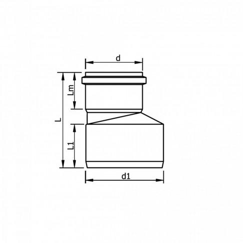 Reductie excentrica PP HTRA, pentru scurgere, D 50 mm - D 32 mm