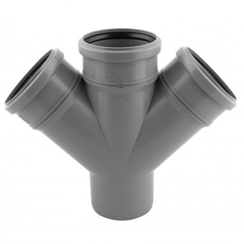 Ramificatie dubla PP HTDA, pentru scurgere, D 110 x 110 x 110 mm, 45 grade