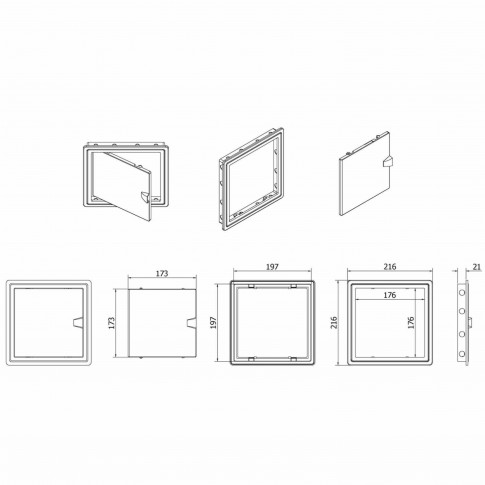 Usita vizitare, TE-MA, pentru instalatii sanitare, alba, 20 x 20 cm