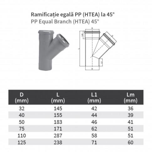 Ramificatie PP HTEA, pentru scurgere, D 125 x 125 mm, 45 grade