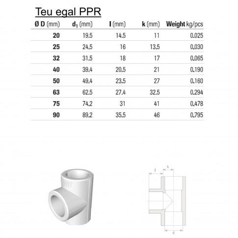 Teu PPR, D 25 mm, alb