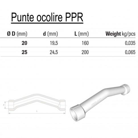 Punte ocolire PPR, FI-FI, D 25 mm, alb