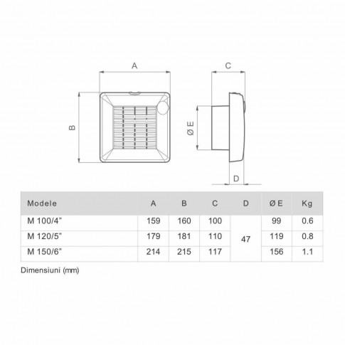 "Ventilator axial Vortice Punto M 100/4"", D 100 mm, 18 W, 90 mc/h, 11201"