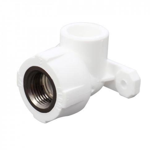 """Cot PPR, cu flansa, FI-FE, 20 mm x 1/2"""", alb, 90 grade"""