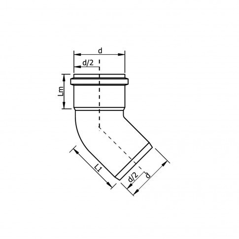 Cot PP HTB, pentru scurgere, D 75 mm, 45 grade