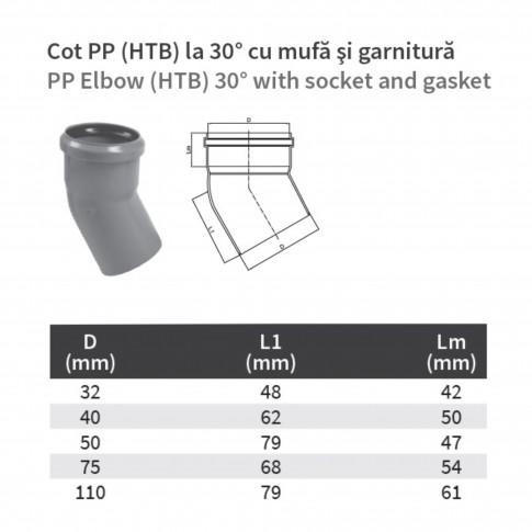 Cot PP HTB, pentru scurgere, D 75 mm, 30  grade