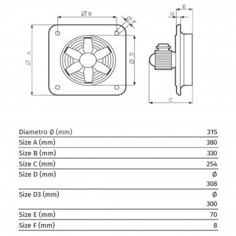 Ventilator Vortice E302M, 195 W, D315 mm, 2800 RPM