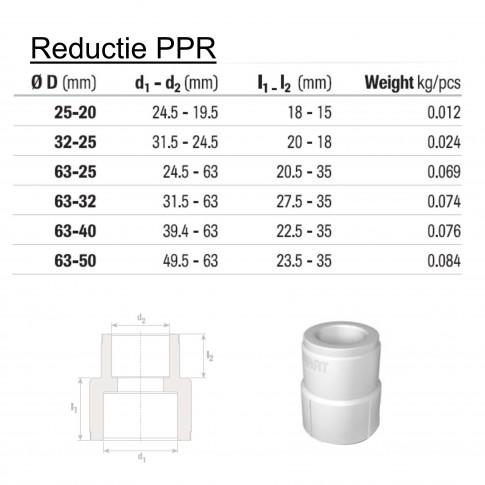 Reductie PPR, 63 x 50 mm, alba