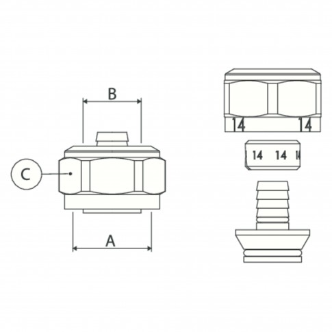 "Conector alama, imbinare tevi multistrat, 20 mm x 3/4"""