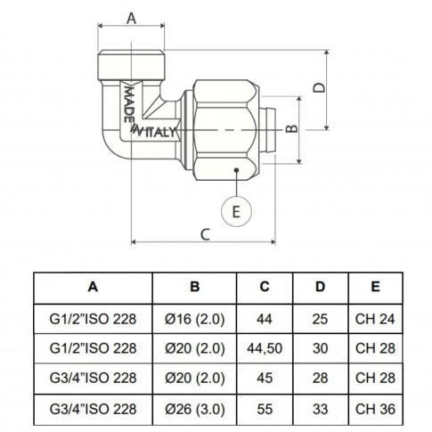 """Cot alama, conector, FE, 20 mm x 1/2"""", 753 L"""