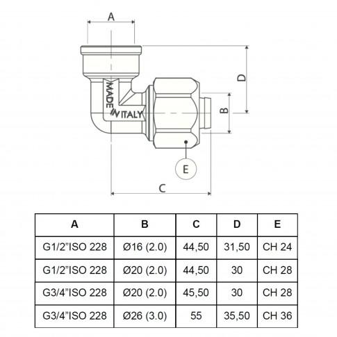 """Cot alama, conector, FI, 20 mm x 3/4"""", 752 L"""