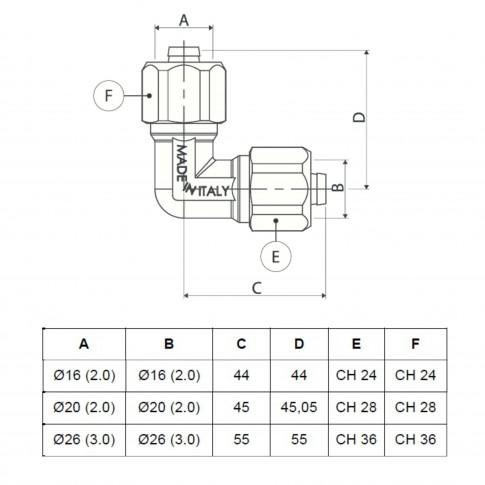 Cot alama, conector, FI, 20 mm x 20 mm, 751 L
