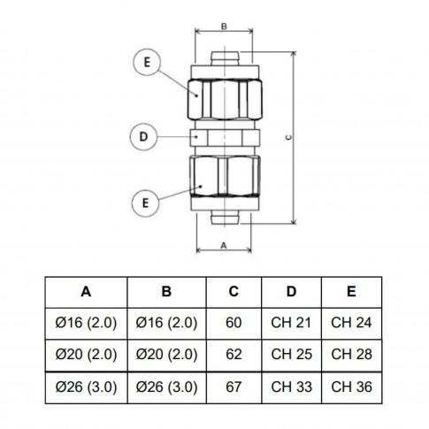 Racord pentru teava multistrat, 20 mm x 20 mm, 703L