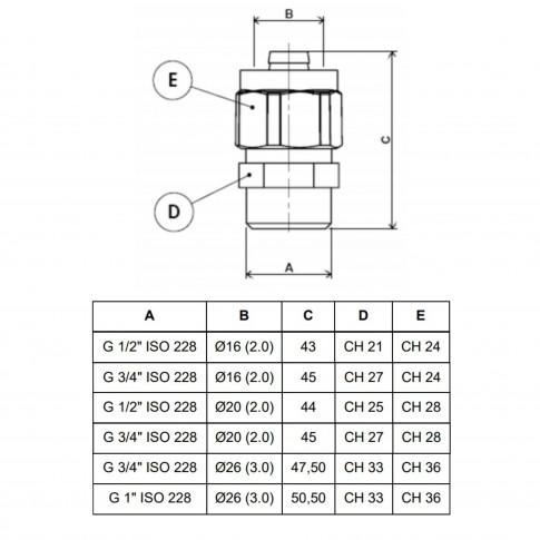 """Racord pentru teava multistrat, FE, D 26 mm x 3/4"""", 701L"""