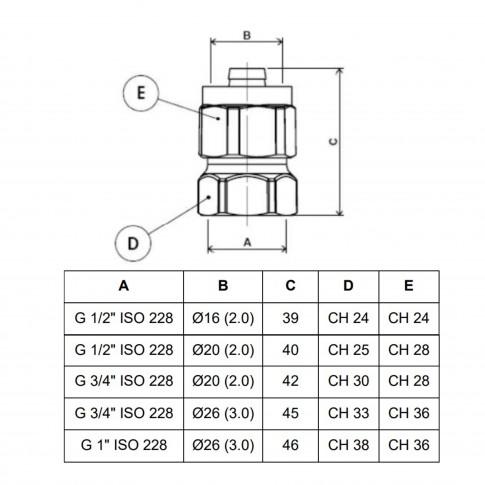 """Racord pentru teava multistrat, FI, D 26 mm x 1"""", 702L"""