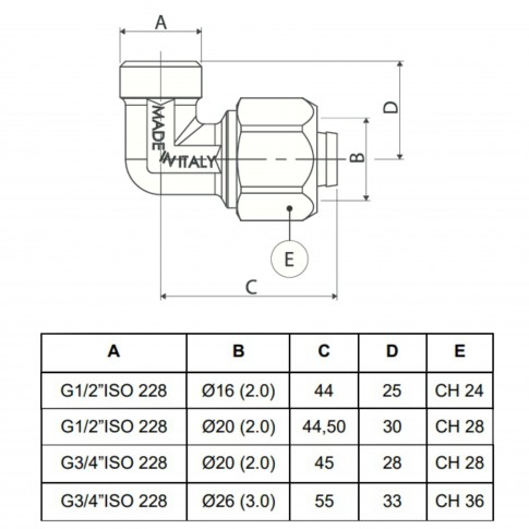 """Cot alama, conector, FE, 26 mm x 3/4"""", 753L"""