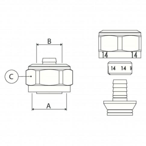 "Conector alama, imbinare tevi multistrat, 16 mm x 3/4"""