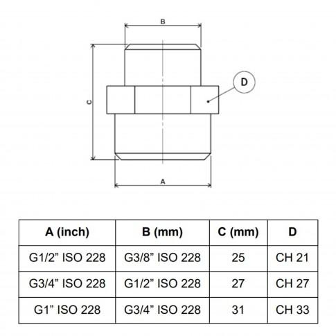 "Reductie alama, FE-FE, 1/2-3/8"", A580"