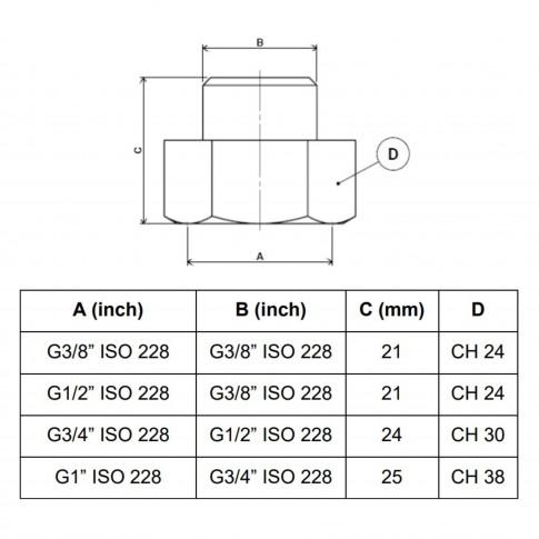 """Reductie alama, FI-FE, 3/8-3/8"""", A592"""