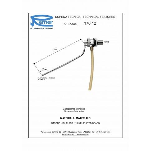 "Robinet flotor Remer, alama, 17612, D 1/2"""