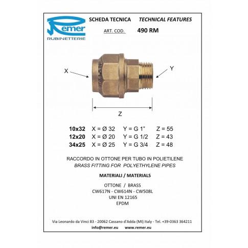 "Racord compresie alama, FE, D 25 mm x 3/4"", 490RM342"