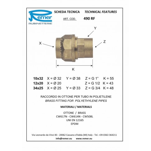 "Racord compresie alama, FI,  D 40 mm x 1 1/4"", 490RF11"
