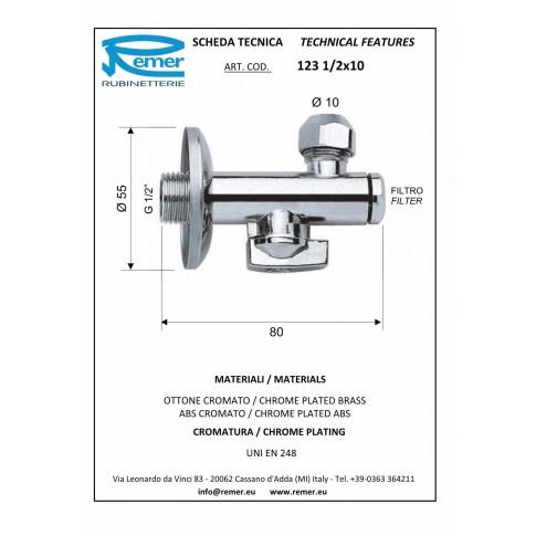 """Robinet colt cu filtru, Remer, 1231210, D 1/2""""x 10 mm"""